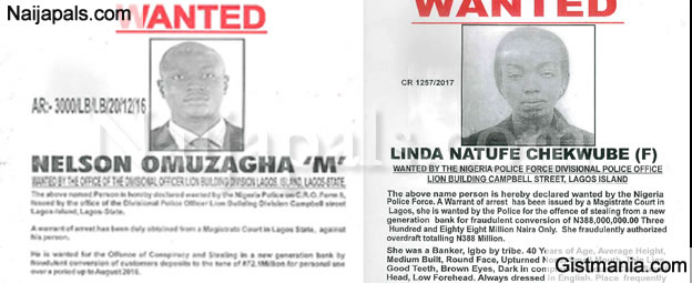 Police Declare 8 Bankers wanted for stealing customers deposits totaling N500 Million