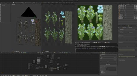 This is a special vegetation item , for which i started from scratch , using 2 levels of particle scattering and dupligroups to create bushes (from the size of field flowers to small trees) and it was important to have full control and quickly iterate to get the right density of leaves and flower for .. well , i can't say , that'd be a spoiler ..