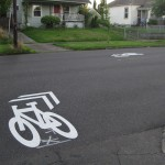 Broken sharrow in Portland. Source: NACTO via Flickr (CC non-commercial license)