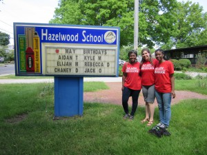 NJAIM representatives Nimotalai, Robin, and Jasmine at Hazelwood Elementary School