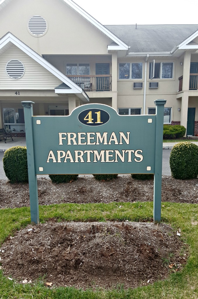 New Jersey Connect Freeman Apartments - Sign out front of building