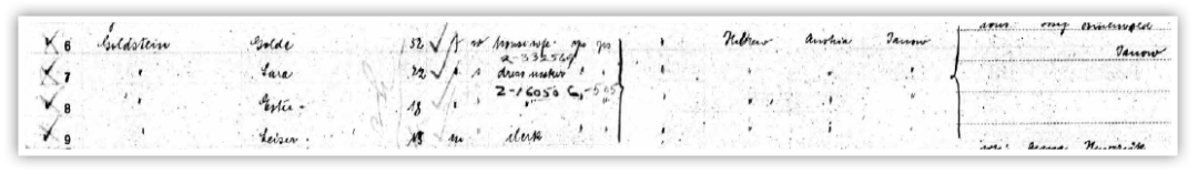 The above ship manifest shows Golde, Sura, Ester, and Leiser Goldstein. Sura became Sadie. Leiser became Louis. Golde never learned English and was always just Golde.