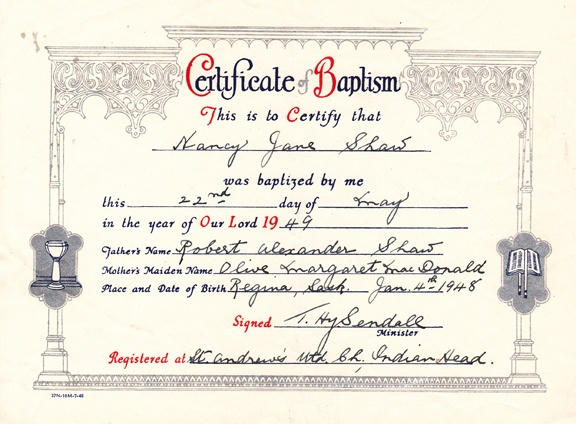 My certificate of baptism