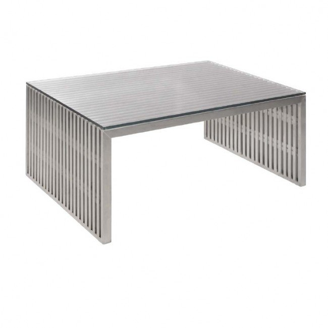 stainless steel slat coffee table glass top
