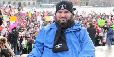 "Conservative MP Stephen Fletcher, at the archly named ""Rally for Canada"" Dec 2008 Ottawa"
