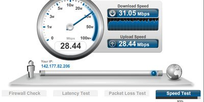 BellAliant FiberOp speed test