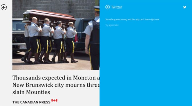 Tweeting from Bing News failed