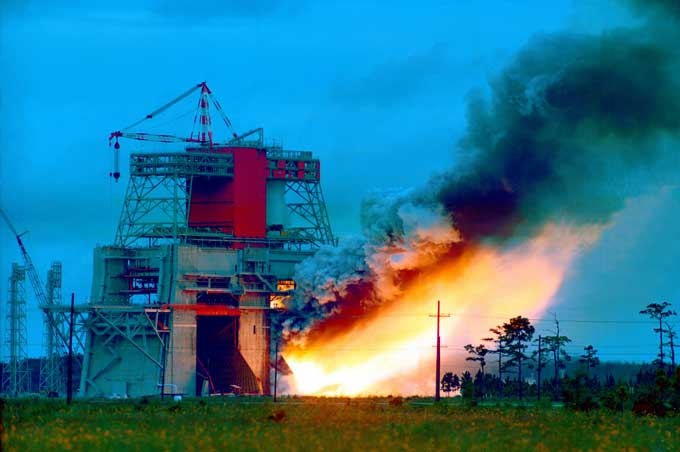 Static Test Firing of Saturn V S-1C Stage (NASA public domain)