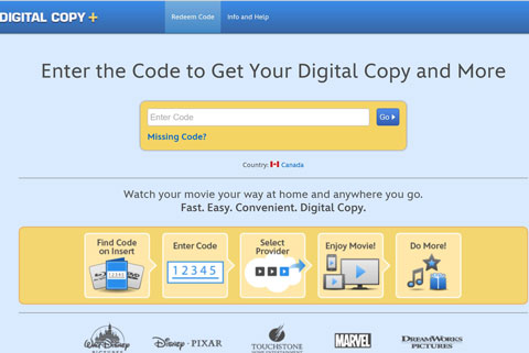 Enter your redemption code at Digital Copy Plus