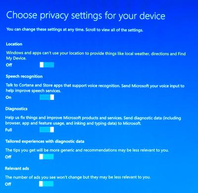 Windows 10 Creators Update Privacy Settings (photo NJN Network)
