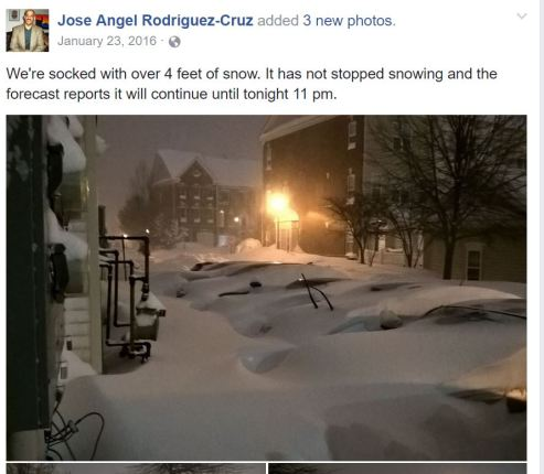 Jose Angel Rodriguez-Cruz added 3 new photos. January 23, 2016 · We're socked with over 4 feet of snow. It has not stopped snowing and the forecast reports it will continue until tonight 11 pm.