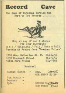 Record Cave, Montreal circa 1967 (photo Pop See Cul)