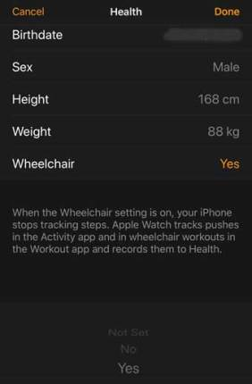 Apple Watch App setup for wheelchair users, from Apple iPhone iOS11 (illustration NJN Network)
