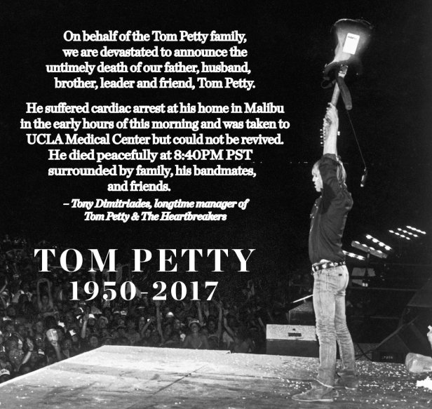 Tom Petty's Twitter account announces his death