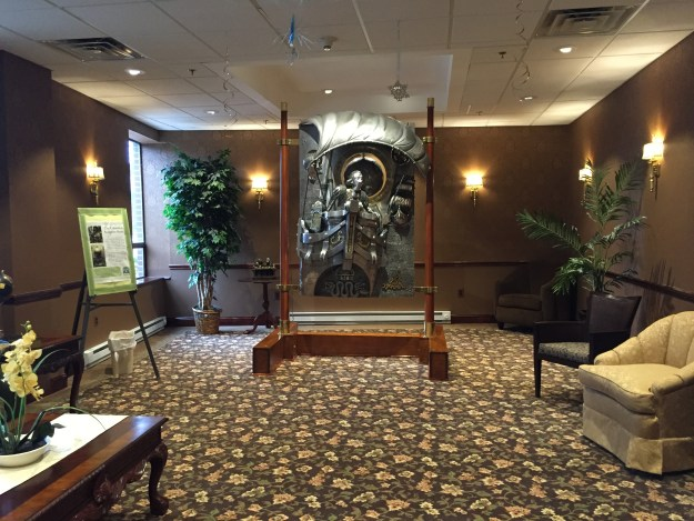 Another magnificent sitting area with a rare and priceless statue of hand wrought silver!