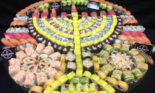 Sushi platter in the shape of a Menorah!