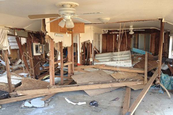 Home destroyed after flooding