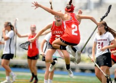 Kasey Donoghue (7) and Gabrielle Fornia (2) react after Fornia's game tying goal inthe New Jersey group 4 state championship game at Kean University,Union NJ.
