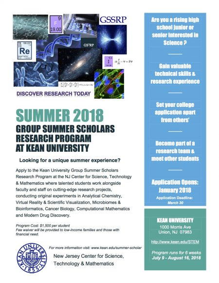 Summer 2018 - Group Summer Scholars Research Program at Kean University