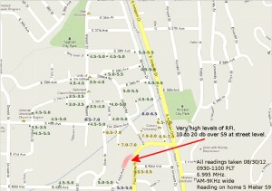 Sample Map from Google maps showing how to map RFI
