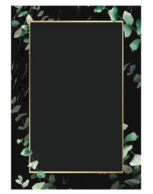 eucalyptus-leaf-with-rectangle-gold-frame-welcome-board