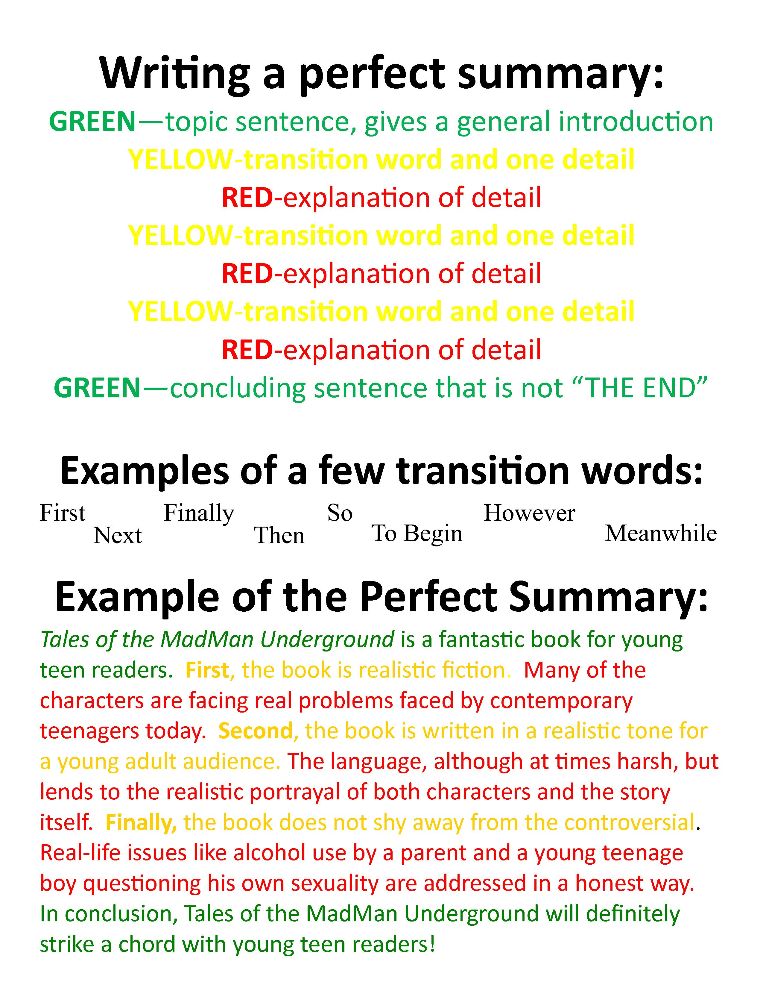 Writing A Perfect Summary