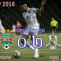 បឹងកេតអង្គរ(កម្ពុជា)បានយកឈ្នះក្រុមខ្លាំងBecamex BinhDuong(វៀតណាម) ក្នុងលទ្ធផល 2-0