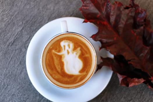 Ghost design in coffee