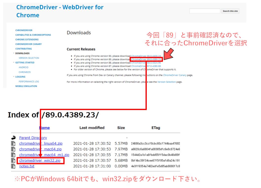 ChromeDriverダウンロード