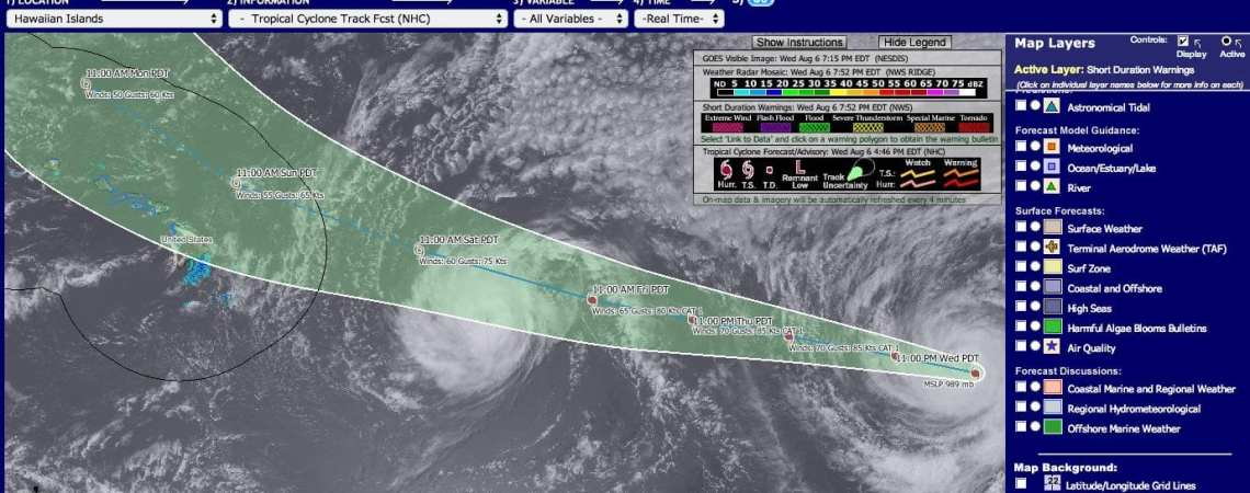 storm tracking Iselle & Julio Aug 6, 2014