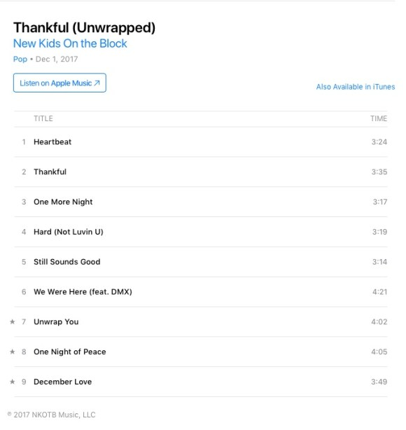 nkotb thankful unwrapped in iTunes