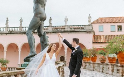 Shades of Blue Ringling Courtyard Wedding