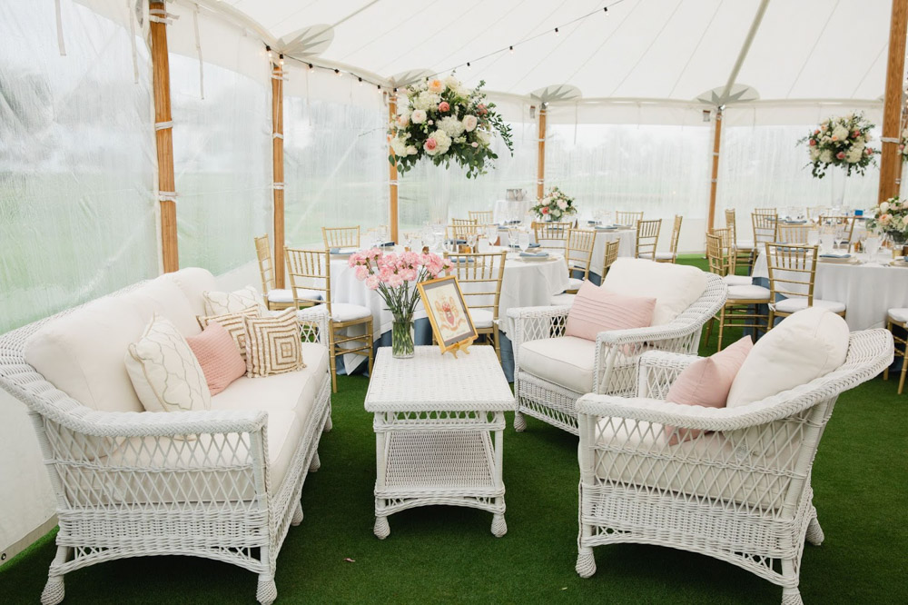 Unique Reception Seating Area at Tent Wedding