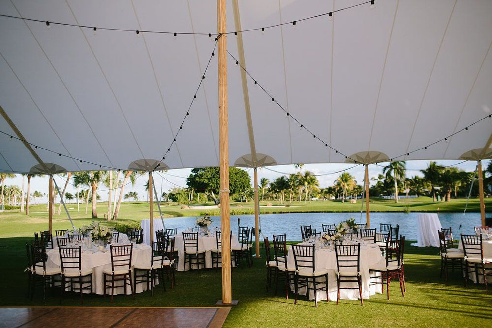 Waterfront Open Tent Reception in Boca Raton with Overhead Lighting