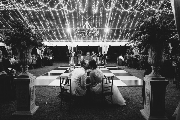 dance floor at outdoor wedding reception at Selby Gardens