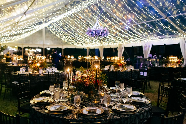 wedding reception decor with overhead lighting