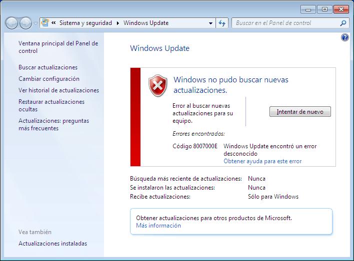 windows update no quiere actualizar