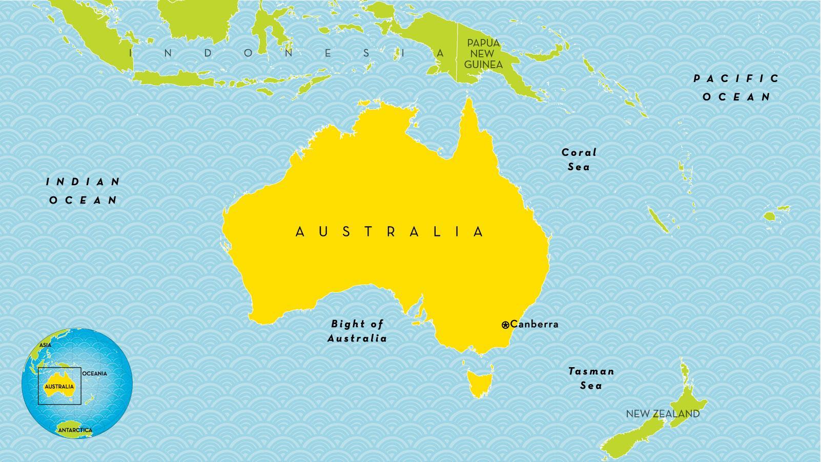 Australie Land Kaart