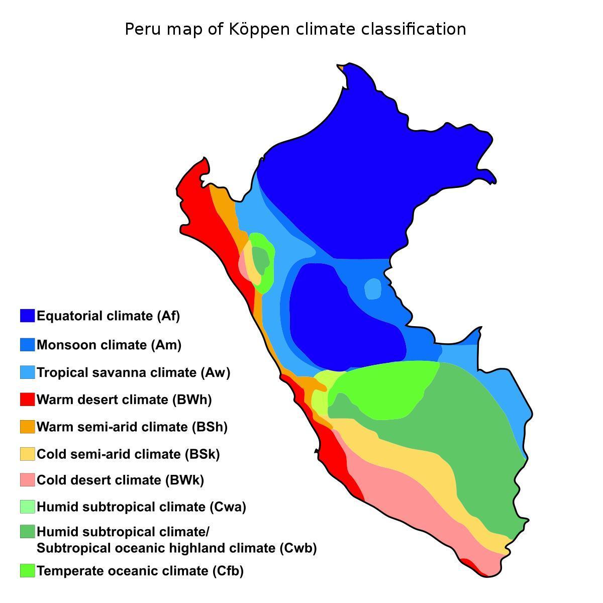 Peru Klimaat Kaart