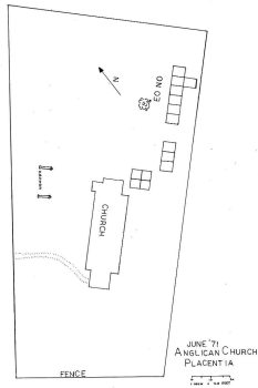 Area excavated in the search for the 17th century church foundation in Placentia.