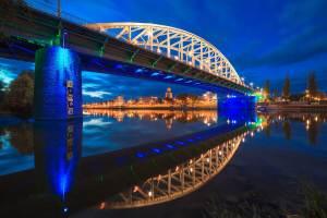 John Frostbrug, Arnhem, Rijn, Rijnbrug, Blue Hour, Arnhem stadje aan de Rijn, Vitesse, rivier, blue hour, blauwe uur, city scape