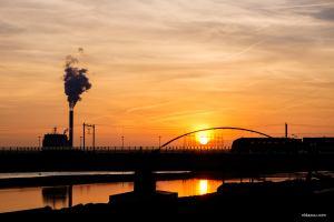 Ruimte voor de Waal, Nijmegen, Lent, Waalsprong, ruimte voor de rivier, sunset