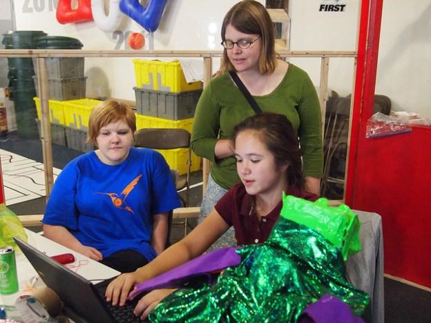 Girls creating robot