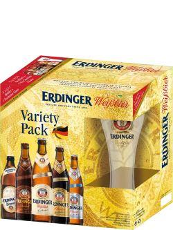 Erdinger Variety Pack 5x500ml Bottles w/Glass