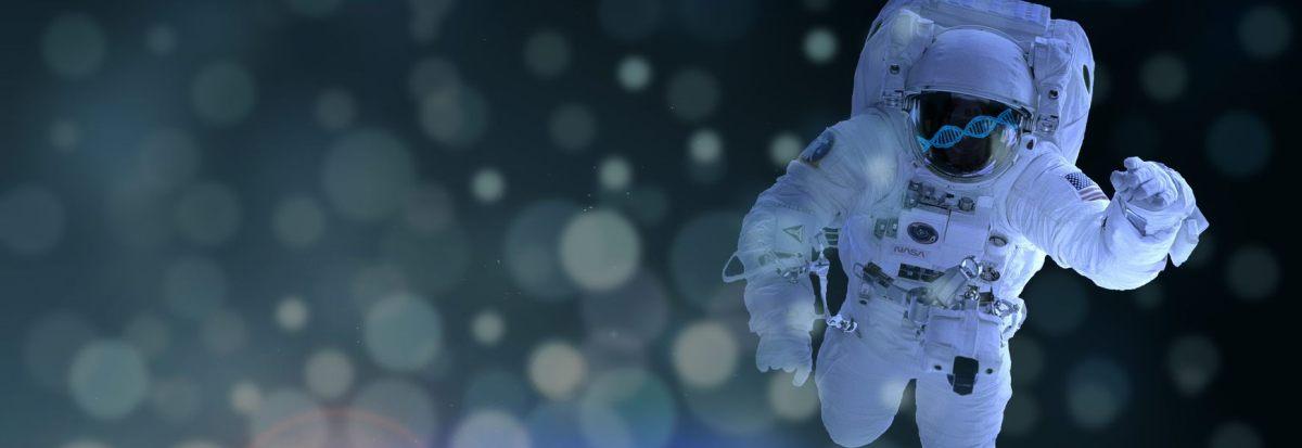 An astronaut floats among microscopic organisms