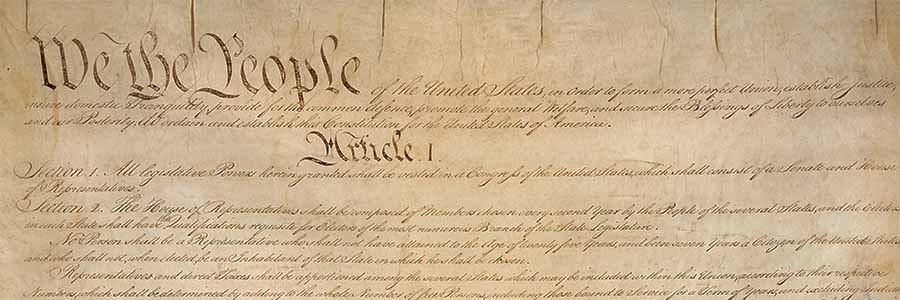 close up on the preamble and Article 1 of the US Constitution