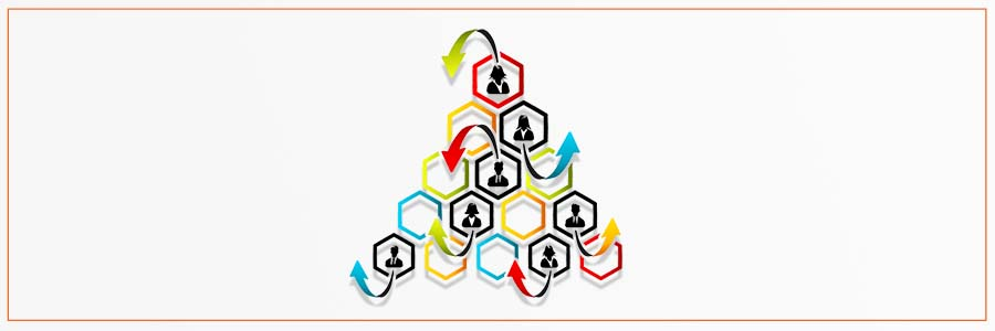 reorganization concept: arrows show employees moving within an organizational pyramid