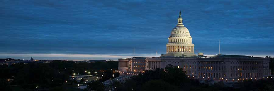 view of the US Capitol from a distance at dawn