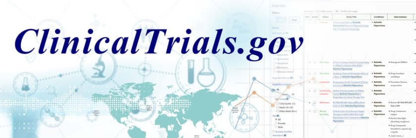 Image showing the words, ClincialTrials.gov, against a backdrop of medical and scientific images