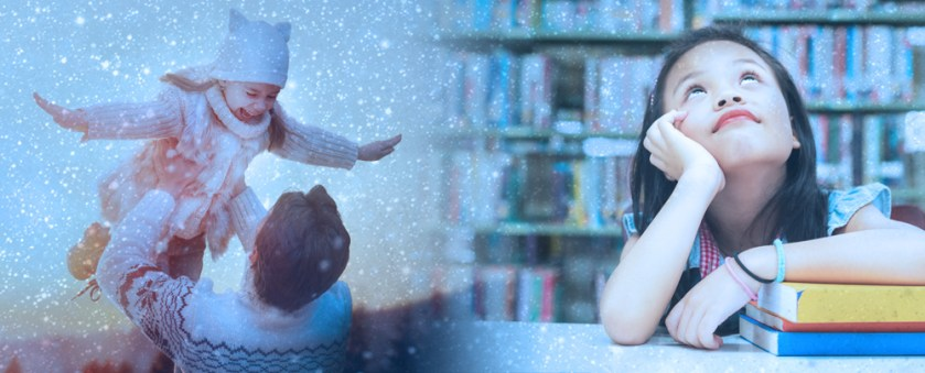 Child and father playing in the snow on left. Young girl gazing upward in a library at right.